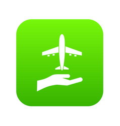 airplane and palm icon digital green vector image