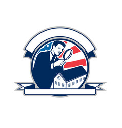 American home inspector usa flag circle icon vector