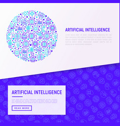 artificial intelligence concept in circle vector image