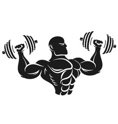 athlete with dumbbells silhouette vector image