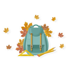 back to school backpack fall autumn vector image