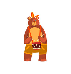 Bear playing the drum cute musician animal vector