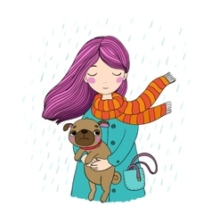 Beautiful cartoon girl and pug vector image vector image