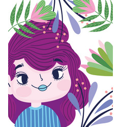 Beautiful girl foliage leaves vegetation cartoon vector
