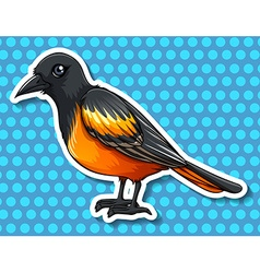 Bird with black and yellow feather vector