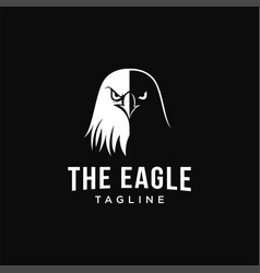 black and white eagle head logo icon template vector image