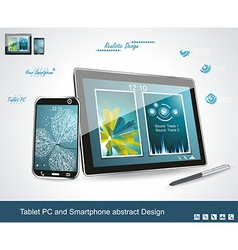 Black glossy tablet PC and touchscreen smartphone vector image