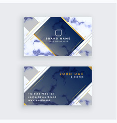 Blue marble business card template vector