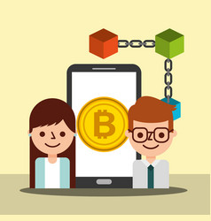 businessman agent woman smartphone bitcoin vector image