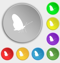 butterfly icon sign Symbol on five flat buttons vector image