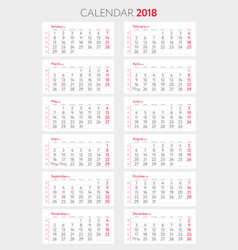calendar 2018 with weeks template starts monday vector image