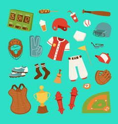 Cartoon baseball game player clothes vector