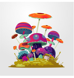 cartoon fantasy mushroom background fantasy vector image