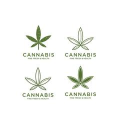 Cbd cannabis marijuana pot hemp leaf with line art vector