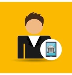 Character man smartphone digital bank icon vector