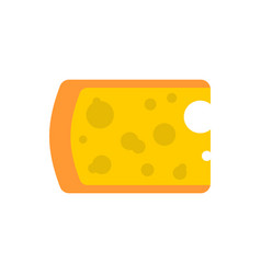 cheese piece isolated yellow dairy product on vector image