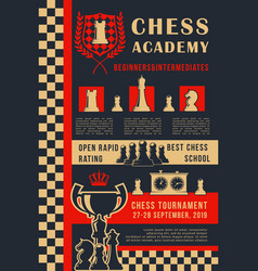 Chess academy game open tournament poster vector
