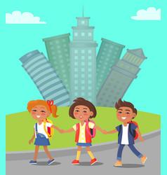 children walking in city cityscape vector image
