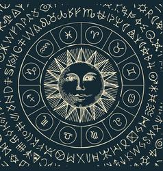 circle zodiac signs and a hand drawn sun vector image