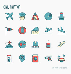 civil aviation thin line icons set vector image