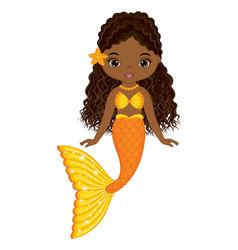 Cute african american mermaid with orange fishtail vector