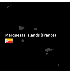 Detailed map of Marquesas Islands with flag on vector image