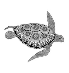 Entangle stylized turtle hand drawn vector