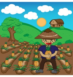 Farmer and pineapple a harvest cartoon vector image