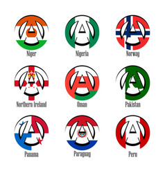 Flags of different countries of the world in the vector