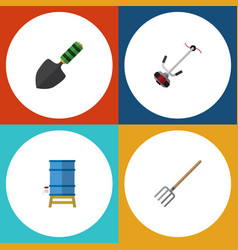 Flat icon farm set of grass-cutter container vector