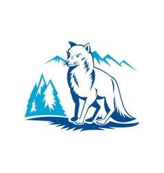 Fox with mountains in the background vector image vector image