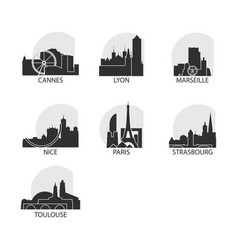 France cities icons set skyline logo pack vector