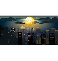 full moon at the city vector image