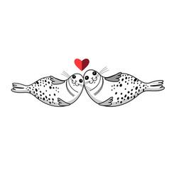 funny cute loving seals vector image