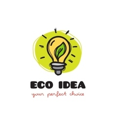 Funny doodle style light bulb eco logo vector