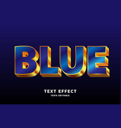 glossy blue gold style text effect vector image