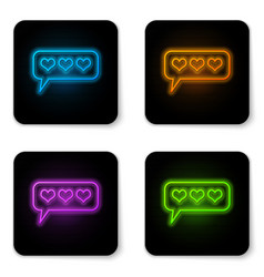 Glowing neon like and heart icon isolated vector