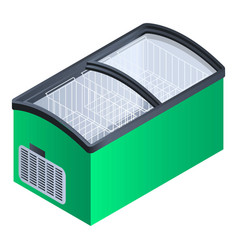 green commercial fridge icon isometric style vector image