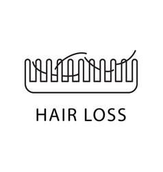 Hair loss icon thin line art logo for clinic of vector