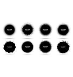 Halftone circle frame emblem set vector