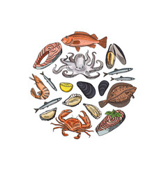 Hand drawn seafood elements in form of vector