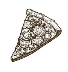 hand drawn slice pizza food italian menu vector image
