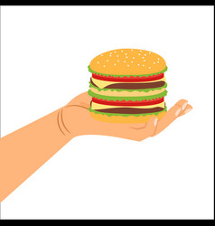 Hand holding hamburger vector
