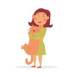 Happy little girl hugging her cat vector