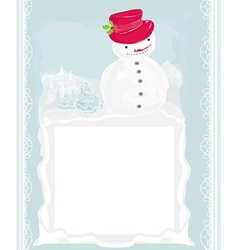 Happy snowman on winter landscape card vector image