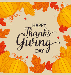 Happy thanks giving card with floral decoration vector