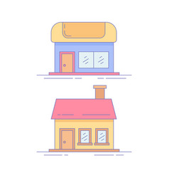 home market line icon or logo vector image