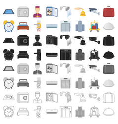 Hotel set icons in cartoon style big collection vector