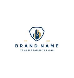House building and shield logo design concept vector