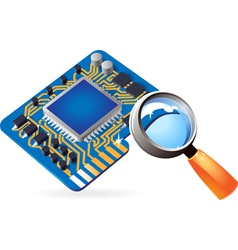 Icon of chipset and lens vector image